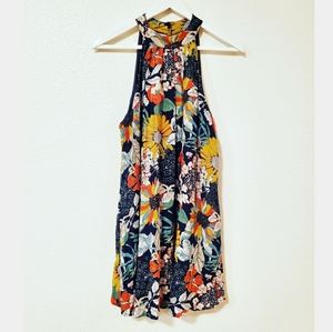 Entro Floral Halter Sleeveless Mini Dress